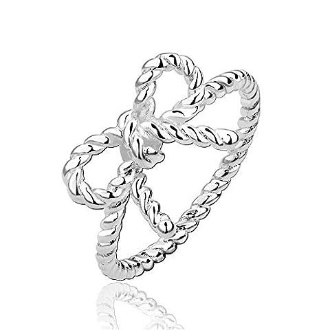 Bodya Schlichte Twisted Schleife Schleife Ring, versilberte Bali Band Finger Ring Frauen Mädchen Schmuck Geschenk