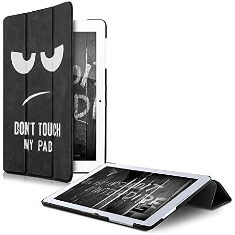 kwmobile Funda fina Smart para Acer Iconia One 10 B3-A20 con soporte - funda de piel sintética en blanco negro con Diseño Don't touch my Pad