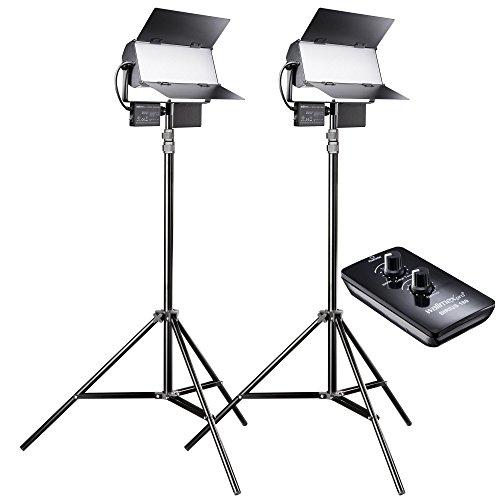 walimex pro LED Sirius 160 Bi Color Set mit Stativ und Fernbedienung, Flächenleuchte, Studioleuchte, 65 Watt, 6000 Lumen -