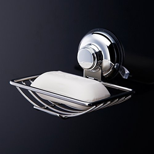 Homeself Super Potente aspirapolvere Portasapone in acciaio inox bagno wc porta saponetta, ventose per bagno (Laminato Ceramic Tiles)