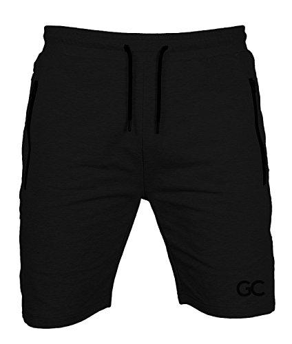 GYMCODES Shorts Herren | Kurze Hose für Sport Fitness Bodybuilding & Freizeit | Jogginghose - Sporthose - Trainingshose - Jogger - Sweatpants | Classic Air (L, Pure Black)