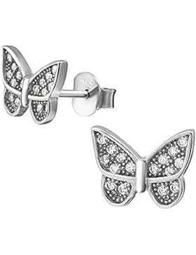 Schmetterling Ohrstecker 925 Sterling Silber Rhodiniert kleine stabile und feste Ohrringe für Kinder, Jugendliche...