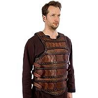 Celta tanque Láminas, marrón, LARP de piel Armadura S/M o L/XL Medieval Combate de exhibición marrón Talla:large/extra-large