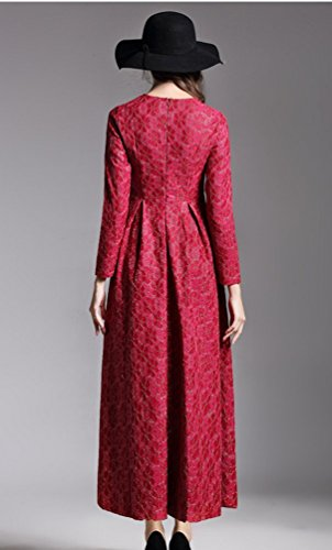 Ghope Femme Manche Longue jacquard Formelle Robe De Soiree Retro D'hiver automne Robe jupe plissée Vin rouge