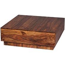 WOHNLING Couchtisch Massiv Holz Sheesham 90 Cm Breit Wohnzimmer Tisch Design Dunkel Braun