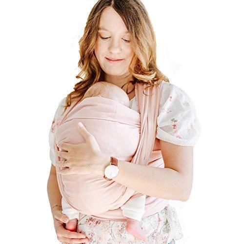 Shabany® Babytragetuch - 100{422118b19b82e3201e9d0265a1dbdaef35efd902cf65c40ca51a0e0878537d3c} Bio Baumwolle - Babybauchtrage für Neugeborene Kleinkinder bis 15 Kg - Gewebt - inkl. Baby Wrap Carrier Anleitung - rosa (cuddles)