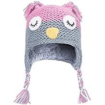 Mountain Warehouse Gorro de punto Owl para niños Rosa claro Talla única