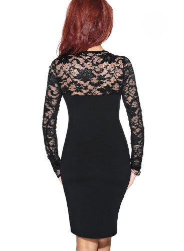 Miusol Damen elegant Abendkleid Spitzen V-Ausschnitt Cocktail Ballkleid Langarm Kleid schwarz/Weiß Gr.34-46 (EU 46 (XXL), Schwarz) - 2