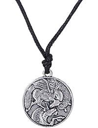 Skyrim Vintage Amuleto Pegasus y Unicornio gótico Colgante Collares para Hombres y Mujeres