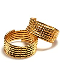 Daily Use Metal Alloy (Panchaloha) Toe Ring For Women- Multi Round Spring Type With Dot Pattern