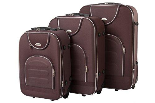 Edelnice Koffer Set de bagage Noir marron M+L+XL