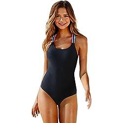 QinMM Bañador de Mujer Multicolor Bikini Ropa de Baño de una Pieza (Negro, M)