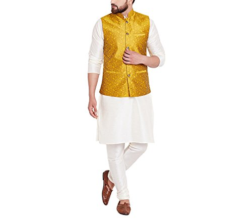 Sojanya Men's Cotton Jacquard Silk Nehru Ethnic Jackets (SJR-102-44_Mustard_XX-Large)