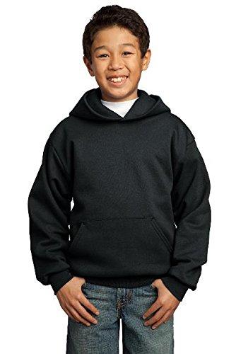 Port & Company® - Youth Core Fleece Pullover Hooded Sweatshirt. PC90YH Jet Youth-fleece-sweatshirt