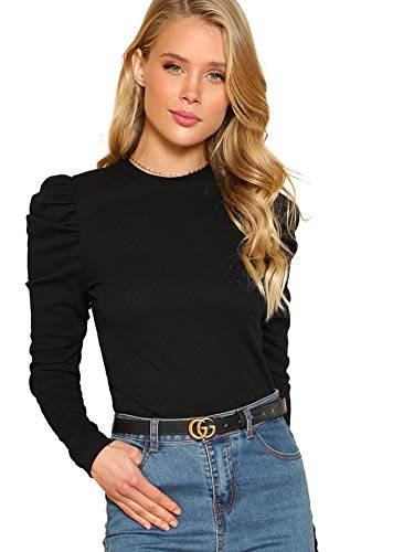 DIDK Damen Strickshirt Langarmshirt Elegant Tops Pullover T-Shirt mit Puffärmeln Shirts Oberteile Einfarbig Pulli Casual Tunika Basic Top Schwarz L