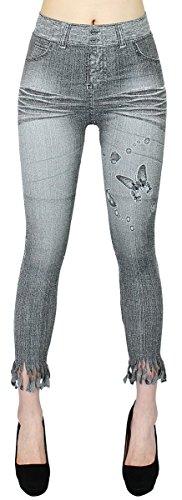 Capri Jeggings Damen Leggings 7/8 Kurze Jeans Optik Leggins mit Fransen Jeansjeggings - 7LG016-018 (One Size - 36/38/40, 7LG016-Butterfly) (Capri-hosen Butterfly)