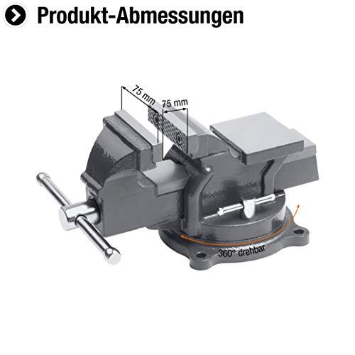 Meister Schraubstock 75 mm ✓ Drehbar ✓ Bis 75 mm Spannweite ✓ Stahlbacken | Tischschraubstock mit Amboss | Schraubstock massiv für Werkbank mit zusätzlichen Schutzbacken | 5142500 - 2