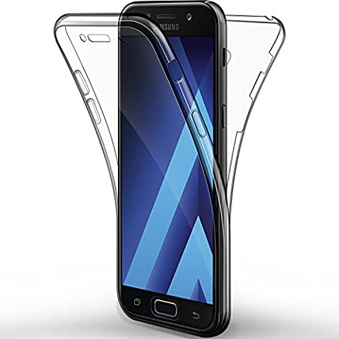 Coque Etui Galaxy A5 2017, Leathlux Silicone Gel Case Avant et Arrière Intégral Full Protection Cover Transparent TPU Housse Anti-rayures pour Samsung Galaxy A5 2017 5.2