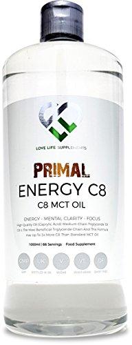 LLS Primal Energie C8 MCT Öl | Neuer Einführungspreis | 1000ml Flasche | 95% C8 Caprylsäure | Geeignet für Veganer, Vegetarier und Paleo/Keto LCHF Diäten | BPA Freie Flasche | Produzieren in Großbritannien unter GMP-Lizenz.
