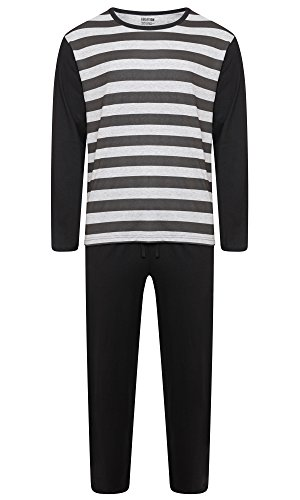 Herren Lounge PJ Pyjamas Sets Night Wear PJ 's 2 Stück Schlafanzug Set Gents New Styles Gr. XXXX-Large, Black / Marl Grey Stripes (Pj Baumwolle Set)