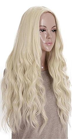 Kalyss Lange Curly Wellig Hitzebeständige Synthetische Blonde Haar Perücke für