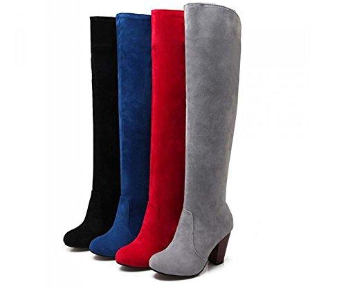 Beauqueen Suede sopra gli alti stivali al ginocchio Stivali alti di punta rotonda alti Partito caldo invernale Scarpe femminili invernali Grigio Blu Rosso Nero Su misura Europa Size 34-43 Black