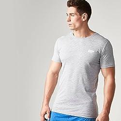 mypr otein Hombre Men 's Long Line–Camiseta de manga corta, todo el año, hombre, color gris, tamaño S