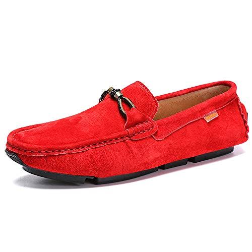 HILOTU Guidando Mocassino per Uomini, Mocassini da Barca Antiscivolo Scarpe Stile Metaldecor Stile Inglese in Pelle di Cinghiale (Color : Rosso, Dimensione : 44 EU)