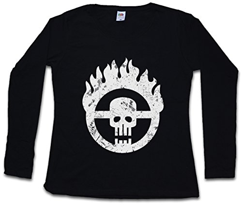 "Skull Wheel Insignia ""J"" Damen Girlie Langarm T-Shirt – – Scrotus Mad Miller Main Force Patrol Furiosa Max Thunderdome Gibson Hardy Mel Tom Australia Größen XS - 2XL (Gibson Langarm-shirt)"