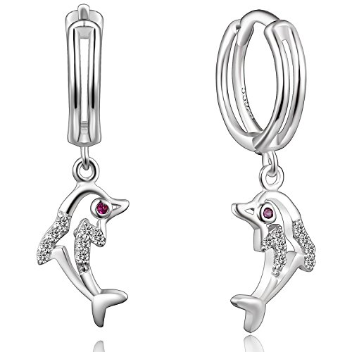Aretes Oro De (Silberfarbenes 925Sterling Silber Delfine Muster Drop Ohrringe)