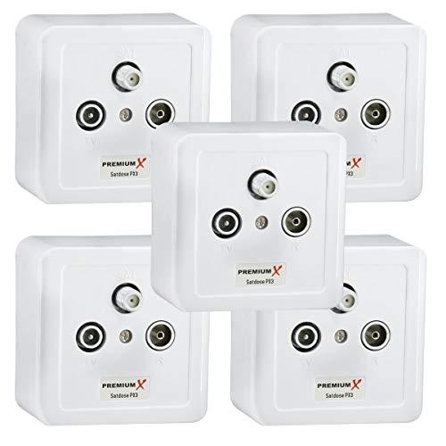 PremiumX 5X PX3 Antennendose 3-Fach Enddose Antennen-Dose Einzel und Stichleitungsdose Aufputz Unterputz SAT-TV-Radio HD Multimediadose