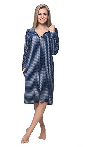 DOROTA kuscheliger und moderner Baumwoll-Bademantel mit Taschen, Reißverschluss & Kapuze, marine-gestreift, Gr. XL (Reißverschluss-frottee-bademantel)