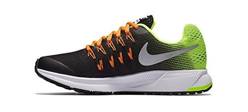 Nike Zoom Pegasus 33 (Gs), Chaussures de Running Entrainement Homme Noir (Black (noir / argent métallique volts pleine orange))