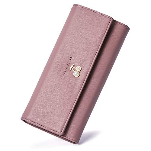 Lange Leder Damen Geldbörse (Leder Geldbörse Damen Lang Geldbeutel Groß Portemonnaie viele Kartenfächer für Frauen rosa)