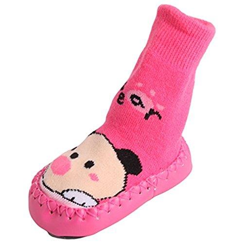 Lalang 1 Paar Schöne Niedlichen Rutschfeste Baumwolle Babysocken Herbst und Winter Warm Socken Trachtensocken Kleinkindschuhe Für 0-3 Jahre alte Baby (14cm, Rose Red Bär)