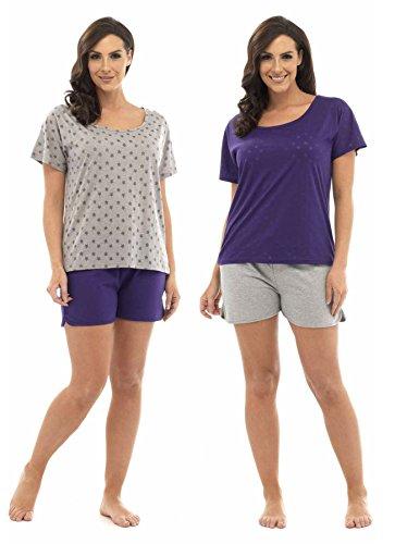 Tom Franks Damen Schlafanzug-Set Strampelanzug Violett - Pink & Purple