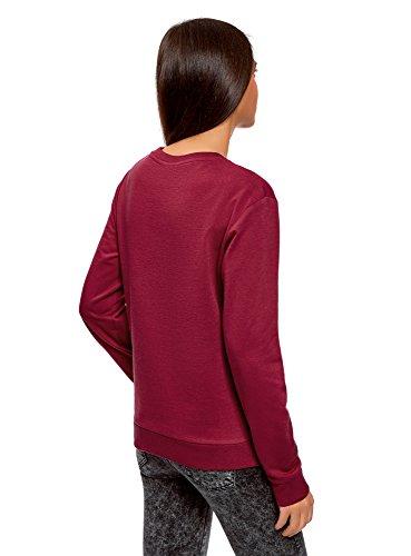oodji Ultra Damen Baumwoll-Sweatshirt Basic Rot (4901N)