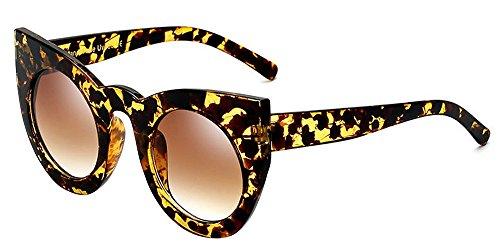 BOZEVON Damenmode Retro Party Katze Auge Stil Sonnenbrille Nette Farbe Gradation Linse Eyewear Gelb Bernstein-Braun C2