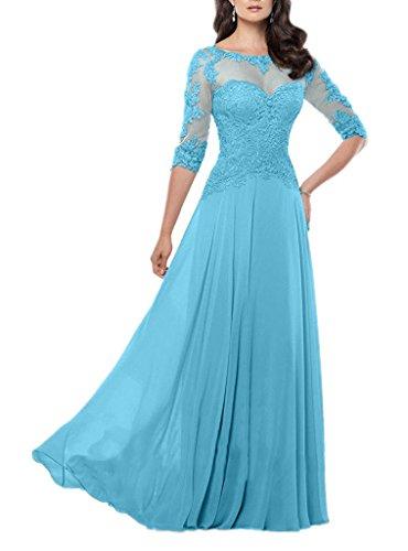 Royaldress Anmutig Hochwertig Spitze Chiffon Langarm Abendkleider Partykleider Brautmutter Formalekleider Lang A-Linie -46 Hell Blau