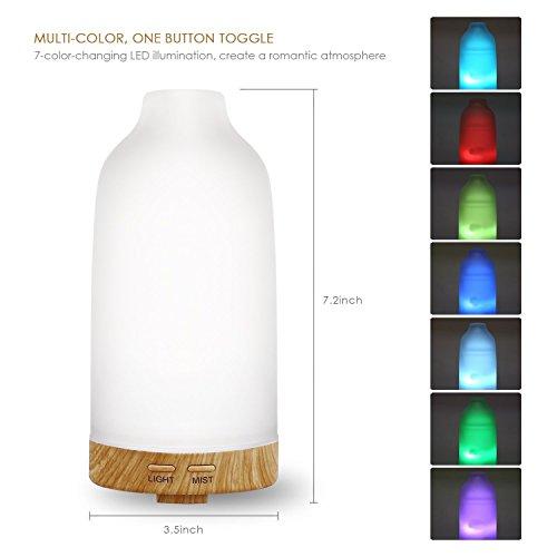 Preisvergleich Produktbild Durshani Aroma Diffuser Ultraschall bunt Farbewechsler Glas Gehäuse Holz / Basis Weiß / Duftzerstäuber für Heim,  Büro,  100ml by