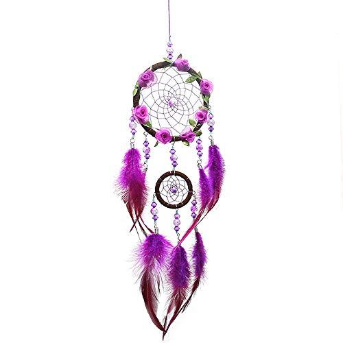 DBWICH Handgemachte indianische Traumfänger mit echten Federn & Holzperlen, for Kinder, Schlafzimmer, Wandbehang Dekor Handwerk, Zwei Kreise (Farbe, Größe : Free)