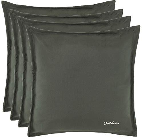 Brandsseller Outdoor Kissen Dekokissen - Schmutz- und Wasserabweisend mit Reißverschluss 2 cm Steg - 350 gr. Füllung - Größe: 48 x 48 cm - Farbe: Dunkelgrau - 4er Vorteilspack