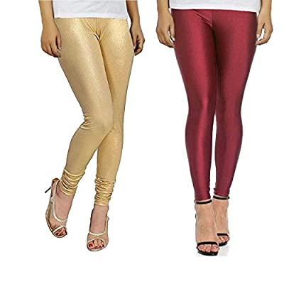 Leggings For Women Maroon and Golden Combo Shining Lycra Cotton Size XL - Bhetvastu