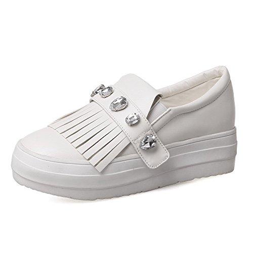 VogueZone009 Femme à Talon Haut Tire Rond Couleur Unie Chaussures Légeres Blanc