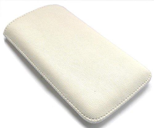 Emartbuy Htc Sensation Xl Bianco Tessuto Pu Custodia In Pelle/Custodia/Manica/Holder (Taglia 3Xl) Con Meccanismo Tab Tirare E Proteggi Schermo Lcd