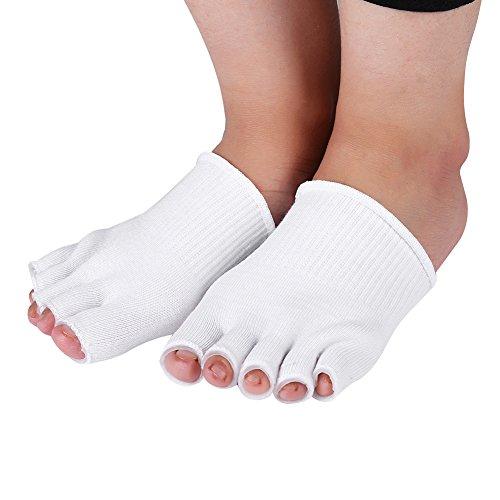 Gel-gefütterte Compression Toe Trennung Socken, 2 Paar Spa Care Open Toe Socken für feuchtigkeitsspendende Whitening Peeling Exfoliating Fuß (Pediküre Spa-cremes)