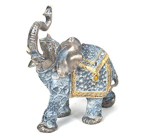 Gerimport Figura Decorativa de Resina Elefante Birger Color Plata Medidas 24 x 24 cm