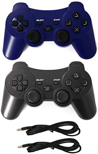 Playstation 3 Controller PS3 Fernbedienung, kabellos, Bluetooth Controller mit Ladekabel, Blau und Schwarz, 2 Stück
