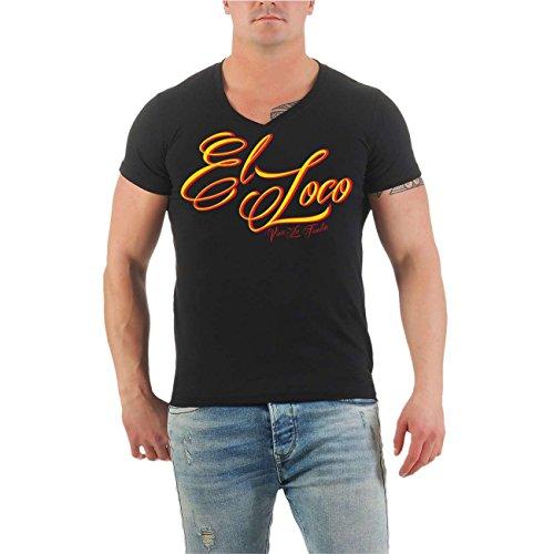 Männer und Herren T-Shirt El Loco SHOTGUN (mit Rückendruck) Größe S - 8XL V-Neck schwarz