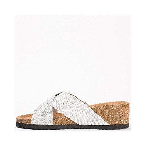 Ideal Shoes - Mules compensées nacrées effet reptile Feliana Argent
